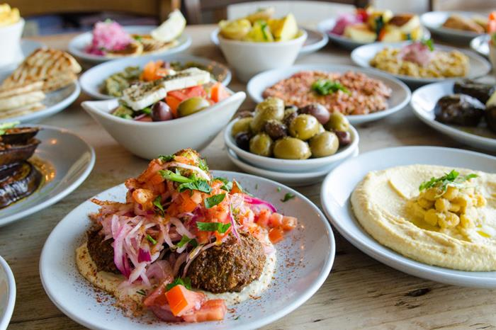 The Real Greek Vegetarian Mixed Dishes - Falafel - Houmous - Greek Salad - Greek Olives